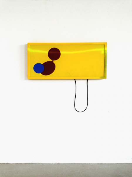 Yellow Sign 2016 steel, acrylic glass, laquer, stickers, rubber string